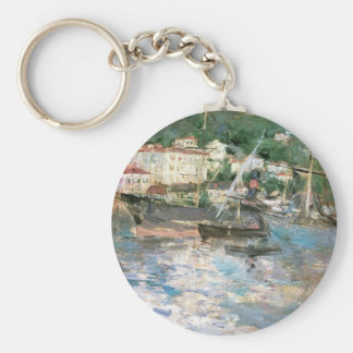 The Port, Nice by Berthe Morisot, Vintage Fine Art Keychain