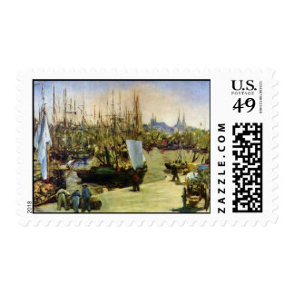 The Port of Bordeaux by Edouard Manet Stamp