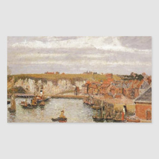 The Port of Dieppe by Camille Pissarro Rectangular Sticker