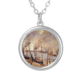 The Port of Le Havre 2 by Camille Pissarro Round Pendant Necklace