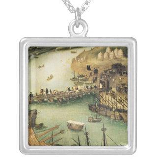 The Port of Seville, c.1590 Square Pendant Necklace