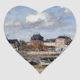 The Port of Trouville, Low Tide by Eugene Boudin Heart Sticker