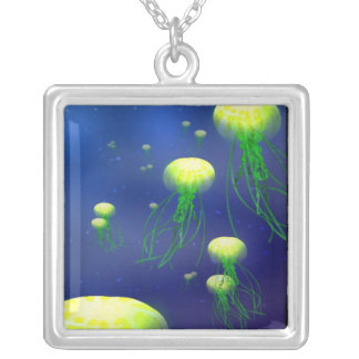 The Porthole: Green Jellyfish Square Pendant Necklace