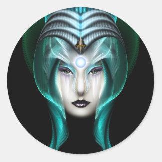The Portrait Of Cyiria ISO Black Classic Round Sticker