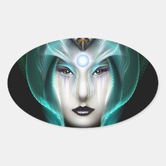 The Portrait Of Cyiria ISO Black Oval Sticker