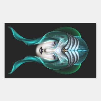 The Portrait Of Cyiria ISO Black Rectangular Sticker