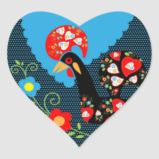 The Portuguese Rooster Heart Sticker