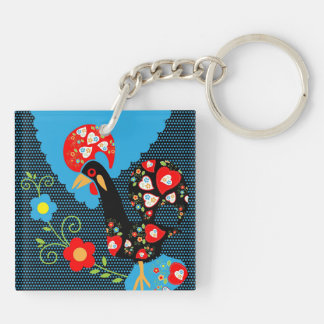 The Portuguese Rooster Double-Sided Square Acrylic Keychain
