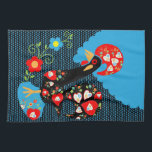 """The Portuguese Rooster Kitchen Towel<br><div class=""""desc"""">Portuguese rooster of luck or Portuguese Barcelos rooster is one of most popular Portuguese symbols. It stands for good luck. This Portuguese Barcelos rooster illustration with cute flowers and dark polka dots background makes a perfect gift for those who were born in Portugal or are fond of this country.</div>"""