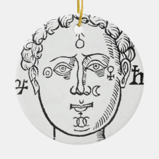 The Position of the Planets in the Human Head, cop Ceramic Ornament