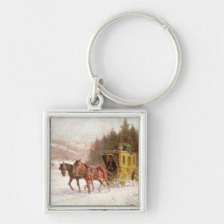 The Post Coach in the Snow Keychain