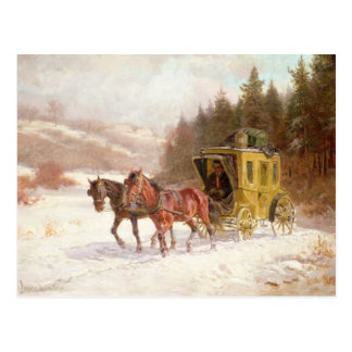 The Post Coach in the Snow Postcard