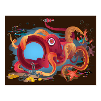 The postcard with octopus picture