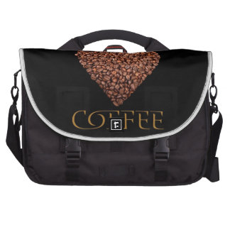 The poster with coffee beans on shape of heart laptop bag