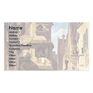 The Postman In Rosenthal By Spitzweg Carl Business Card Templates