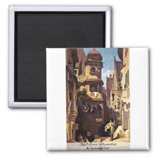 The Postman In Rosenthal By Spitzweg Carl Fridge Magnets