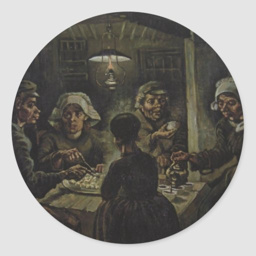 The Potato Eaters - Vincent Van Gogh (1885) Classic Round Sticker