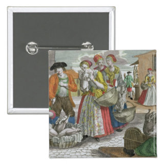 The Poultry Market (coloured engraving) 2 Inch Square Button