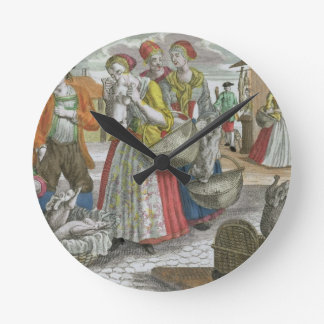 The Poultry Market (coloured engraving) Clocks