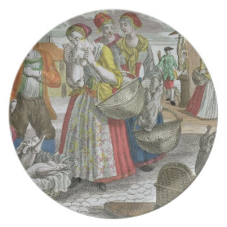 The Poultry Market (coloured engraving) Dinner Plate
