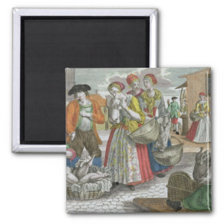 The Poultry Market (coloured engraving) 2 Inch Square Magnet