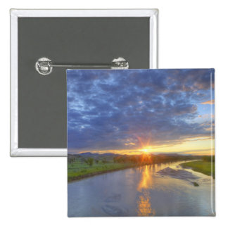 The Powder River catches last light in Custer 2 Inch Square Button