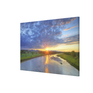 The Powder River catches last light in Custer Canvas Print