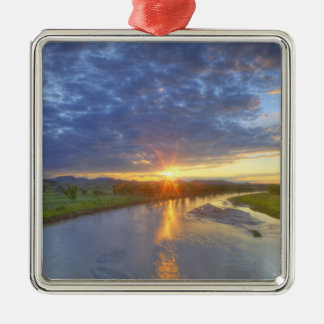 The Powder River catches last light in Custer Metal Ornament