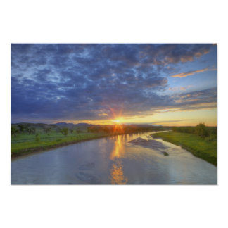 The Powder River catches last light in Custer Poster