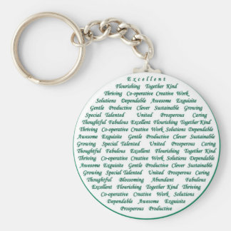 The power of positive words basic round button keychain