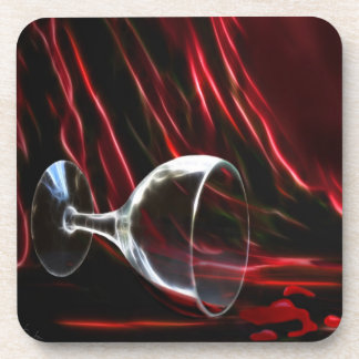 The power of red  knocked  down the  wine glass beverage coaster