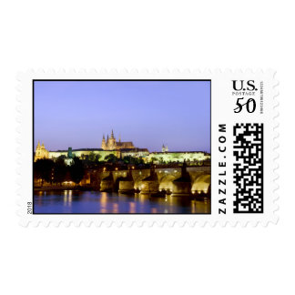 The Prague Castle and the Charles Bridge at Dusk Postage