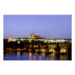 The Prague Castle and the Charles Bridge at Dusk Posters