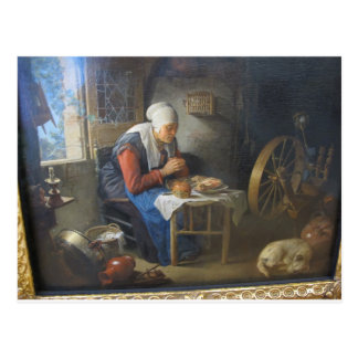 The prayer of the spinner by Gerrit Dou Postcard