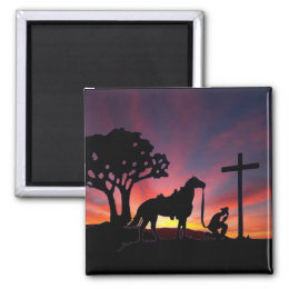 The praying cowboy at the foot of the cross magnet