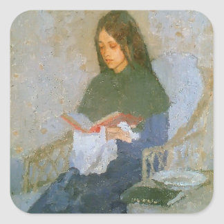 The Precious Book by Gwen John Square Stickers