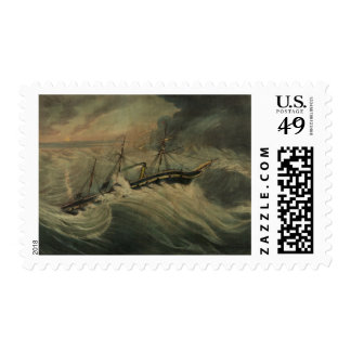 The President Steam Ship Vintage Painting Stamp