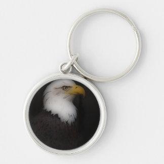 'The Prestigous Bald Eagle' Silver-Colored Round Keychain