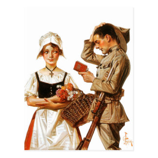 The Pretty French Woman and Nervous Soldier Postcard