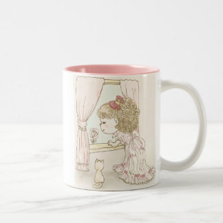 The pretty girl watches a flower Two-Tone coffee mug