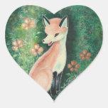 The Pretty Little Fox Heart Sticker