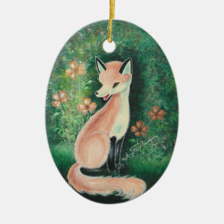 The Pretty Little Fox Double-Sided Oval Ceramic Christmas Ornament