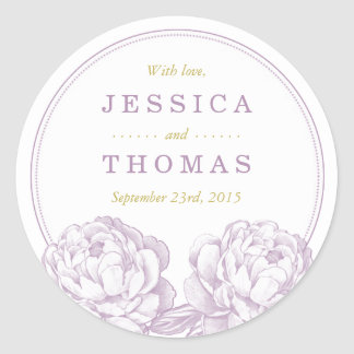 The Pretty Peony Floral Wedding Collection Classic Round Sticker
