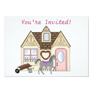 The Pretty Ponies House Horse Birthday Invitation