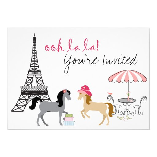 The Pretty Ponies Paris Horse Birthday Invitation