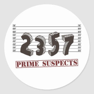 The Prime Number Suspects Classic Round Sticker