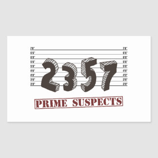 The Prime Number Suspects Rectangular Sticker