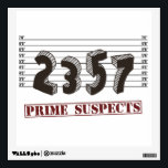 """The Prime Number Suspects Wall Decal<br><div class=""""desc"""">Caught red handed!  The prime suspects are two,  three,  five,  and seven.  Who&#39;s guilty of a horrible,  horrible math pun?  Great nerdy joke for mathematicians or geeks of any stripe.</div>"""