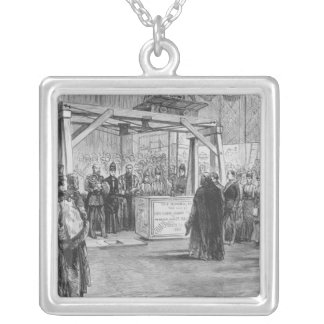 The Prince of Wales laying the Silver Plated Necklace