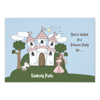 The Princess and her Unicorn -Photo Birthday Party 5x7 Paper Invitation Card